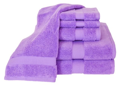 Homestead Textiles Growers Collection 100-Percent Zero-Twist Pima Cotton 6-Piece Bath Towel Set, Lilac