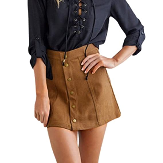MIOIM® Moda Mujer Falda Corto De Ante Imitación Retro Vintage Midi ...