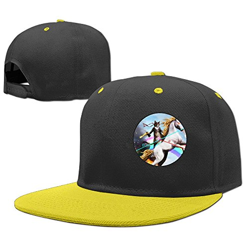 [Custom Unisex-Adult Cat With Rainbow Horse Casual Baseball Hats Yellow] (Costume Ideas For Day Of The Dead)