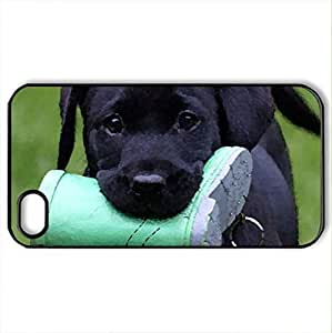 BLACK LAB WITH GUMBOOT - Case Cover for iPhone 4 and 4s (Dogs Series, Watercolor style, Black)