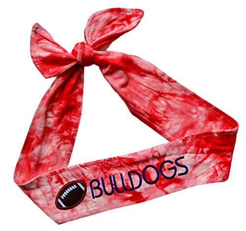 Funny Girl Designs Football TIE Back Moisture Wicking Headband Personalized with The Embroidered Name of Your Choice (TIE DYE Red Tie Back)
