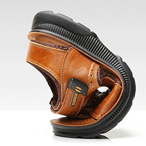 Fondo all'aperto morbido da uomo spiaggia SSYY Sandali velcro Scarpe Open sandali slittata toe pelle brown sportivo FRvRqx7