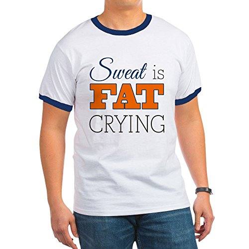 Royal Lion Ringer T-Shirt Sweat Is Fat Crying Gym Workout - Navy/White, (Fat Ringer T-shirt)