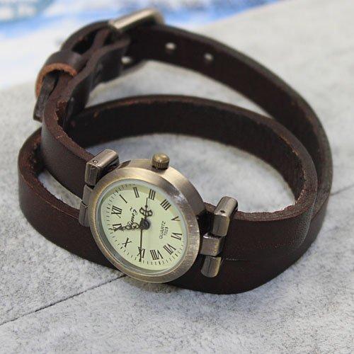 Women Weave Wrap Leather Bracelet Wrist Watch Brown - 6
