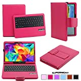 SUPERNIGHT Samsung Galaxy Tab S 10.5 Keyboard Case - Muti-angle Stand Folio Cover Leather Case with Ultra Slim Magnetically Detachable Bluetooth Keyboard + Stylus Slot Holder for 10.5 inch Galaxy Tab S (SM-T800 / SM-T805) - Rose Color