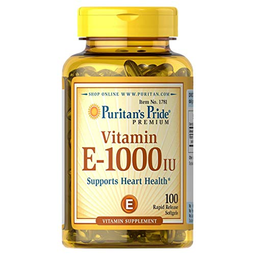 Puritan's Pride Vitamin E 1000 IU Softgels, 100 Rapid Release Softgels (Vitamin E Capsules For Hair)