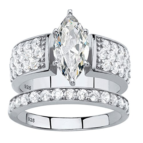 Marquise-Cut White Cubic Zirconia Platinum over .925 Silver 2-Piece Bridal Ring Set Size 7