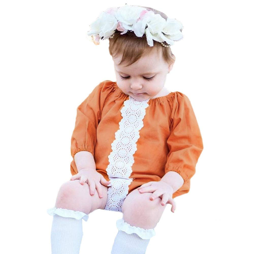 NUWFOR Newborn Infants Baby Girls Patchwork Lace Romper Bodysuit Outfits Clothes(Orange,6-12Months
