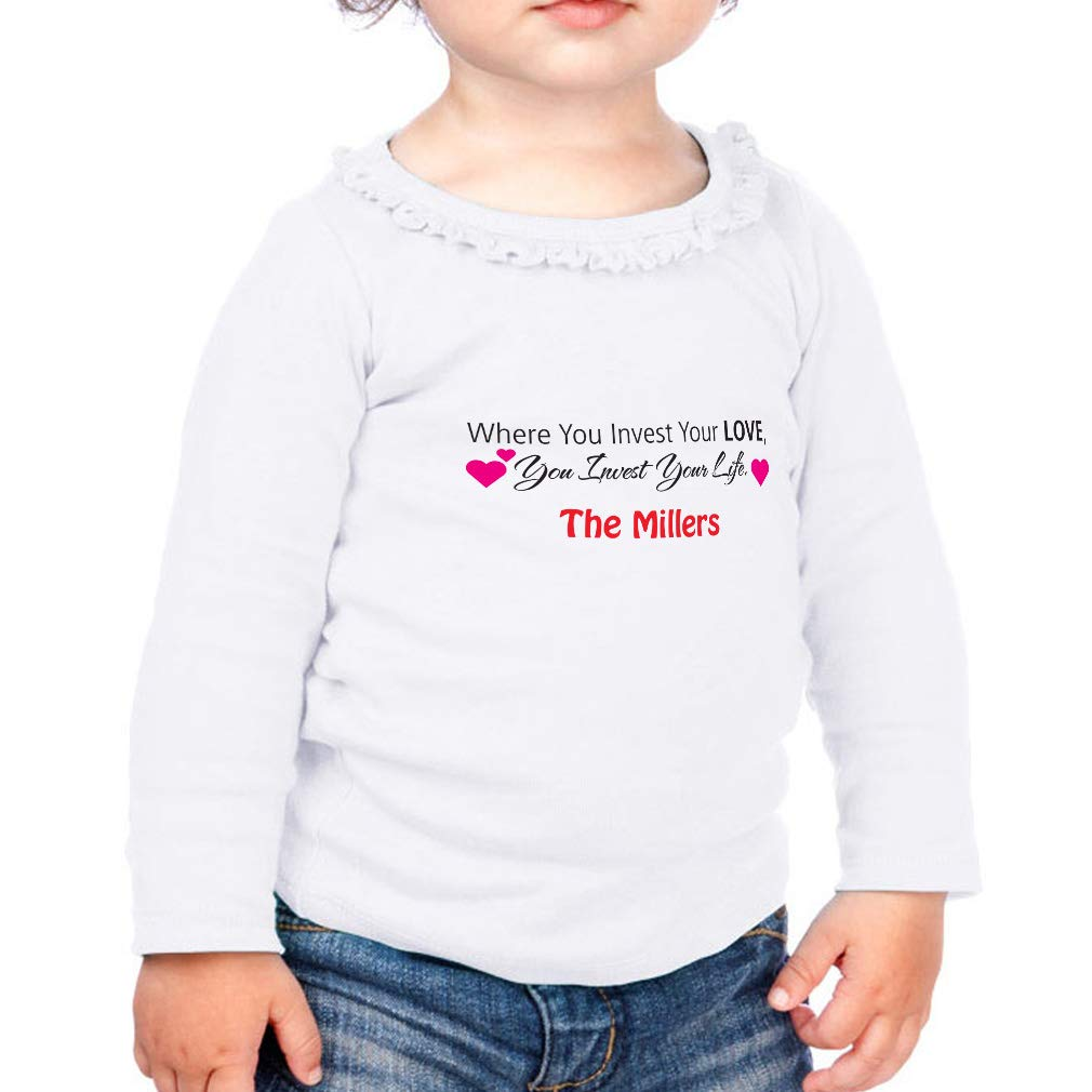 Custom Invest in Your Love Cotton Girl Toddler Long Sleeve Ruffle Shirt Top