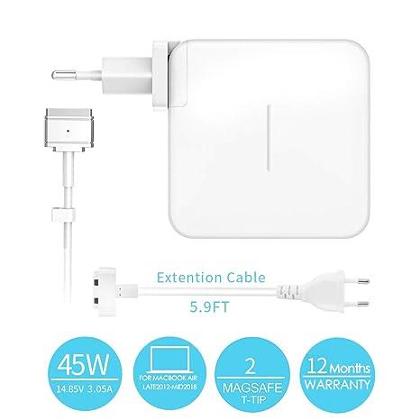 AMERIGUY 45W MagSafe 2 Adaptador de Corriente, Compatible with Cargador Mac Book Air, Mac Book Air 11 13 A1435 A1436 A1465 A1466 listada Antes de ...