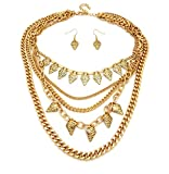 Tribal Pattern Mini Spearhead Multi Chain Necklace and Earrings Jewelry Set in Gold-Tone