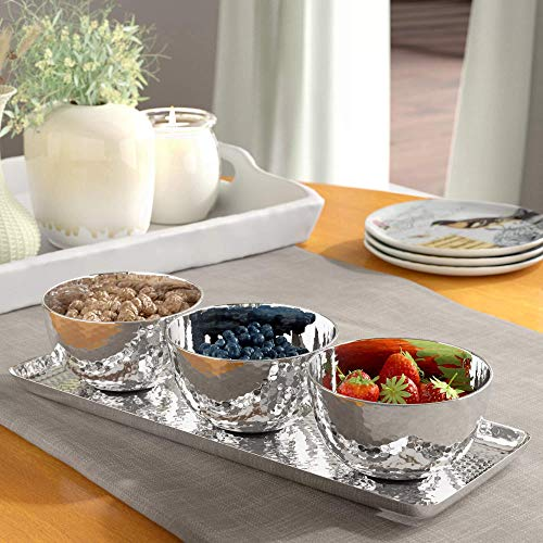 (Relish Tray with Serving Bowls 4-piece Set, Hammered Condiment Server for Appetizers, Candy, Nuts and Dips, Elegant Stainless Steel Serveware Set)