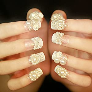 24 Pieces Pearl Series Artificial False Nails