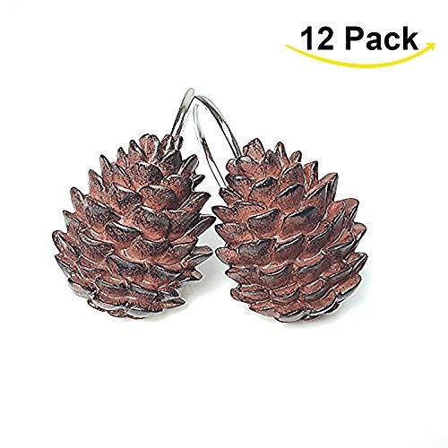 ANZOME Creative Shower Pinecone Hooks, 12PCS Decorative Pinecone Hooks for Bathroom, Baby room, Bedroom, Living Room Decor