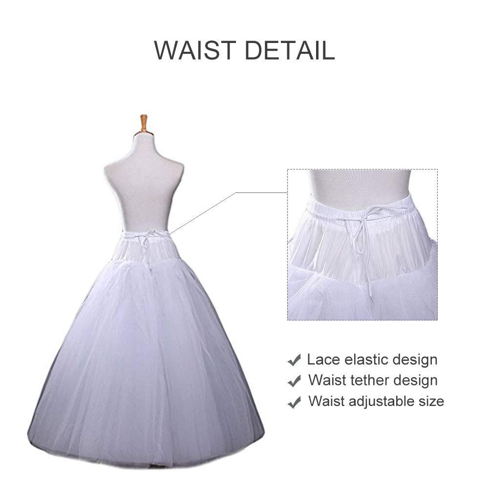 Nanwuji A-line Hoopless Petticoat Crinoline Underskirt Slips Floor Length for Bridal Wedding Dress, White, One Size