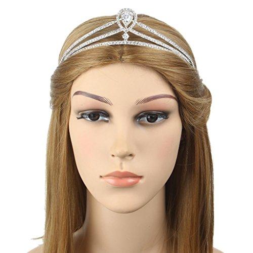 Ever Faith - Bandeaux Cheveux Diadèmes de Mariée Goutte Zircon Cristal Autrichien Plaqué Argent N04295-1