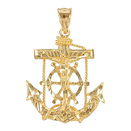 - Men's Fine Jewelry 14k Yellow Gold Mariner Crucifix Anchor Cross Pendant