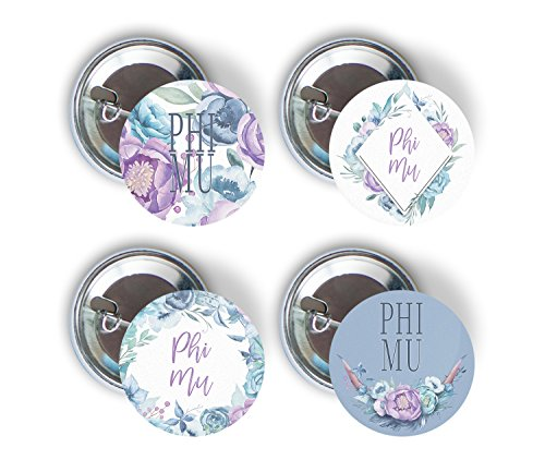Phi Sorority Button - Phi Mu Sorority Purple Floral Variety Pack of Buttons Pin Back Badge 2.25-inch