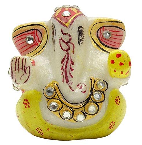Pintado A Mano De Mármol Ganpati Religiosa Meenakari Ganesha Estatua Decoración Del Hogar