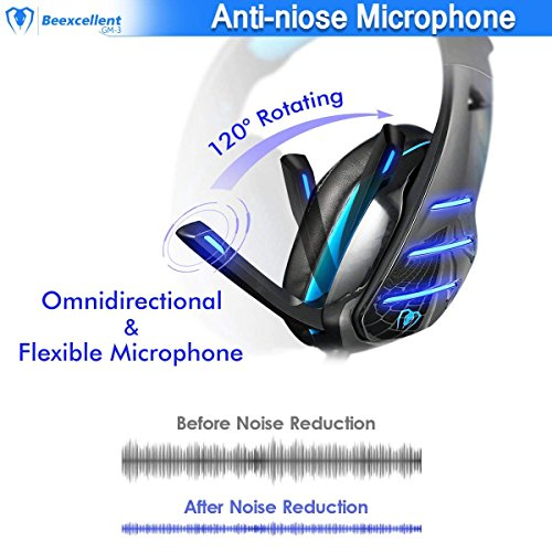 PS4 Gaming Headset with Mic, Beexcellent Newest Deep Bass Stereo Sound Over Ear Headphone with Noise Isolation LED Light for PC Laptop Tablet Mac (Blue) 8