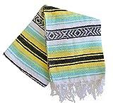 Del Mex (TM) Mint Seafoam and Yellow Mexican Beach Blanket Vintage Style (Estrella)