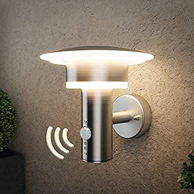 NBHANYUAN Lighting LED Outdoor Wall Light Outside Wall Lamp Silver Stainless Steel Weatherproof 3000K Warm White External Lamp 110V 1000LM [Energy Class A+]