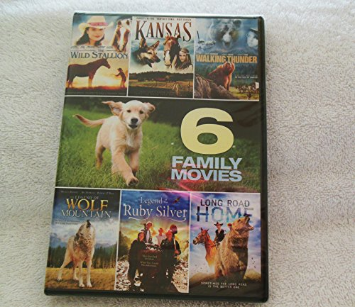 6 Family Movie Pack~Wild Stallion~Legend of Wolf Mountain~Kansas~Walking Thunder~Legend of Ruby Silver~Long Road Home