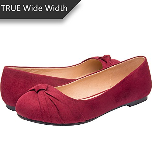 Women's Wide Width Flat Shoes - Comfortable Slip On Round Toe Ballet Flats.(MC Burgundy 180303,8.5WW) ()
