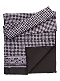 Elizabetta Men's Italian Silk Wool Lined Scarf - Black & Grey