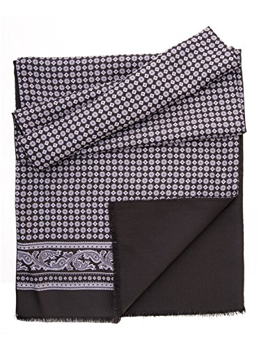 Elizabetta Men's Italian Silk Wool Lined Scarf - Black & Grey by Elizabetta