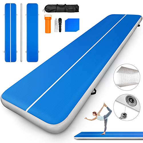 Happybuy 10ft 13ft 16ft 20ft 23ft 26ft 30ft Air Track 8 inches Airtrack Inflatable Air Track Tumbling Mat for Gymnastics Martial Arts Cheerleading Tumble Track Without Pump Blue 26ft 80x8in