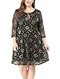 Allegra K Women's Plus Size Lace-up Above Knee Lace Flare Dress 3X Black