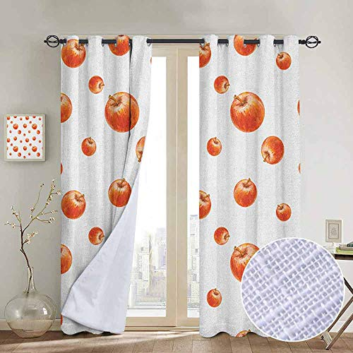 NUOMANAN Curtains for Bedroom Apple,Watercolor Style Cameo Apples Abstract Kitchen Elements Brush Stroke Effects, Vermilion White,Darkening and Thermal Insulating Draperies 100