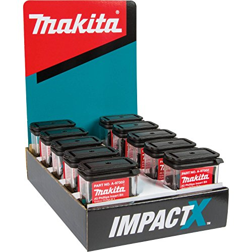 - Makita A-97302-10 Impactx 2 Phillips 1″ Insert Bit, 10 x 25 Pack, Display