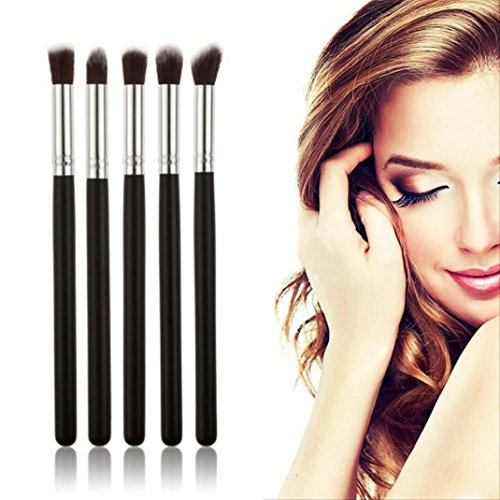 DEESEE(TM) Makeup Brush 5PCS Cosmetic Set Eyeshadow Foundation Wood Pro MakeUp Brush Tools - Brown Eye Cat Spot On