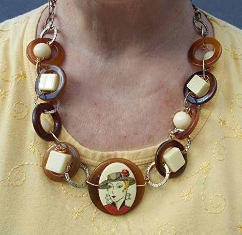 Bakelite Ivory & Celluloid Tortoise Shell Geometric Cameo Necklace Vintage Large Creamy Spheres, Brown Rings Adjustable Chain Link Necklace, One of a Kind! - Bakelite Cream