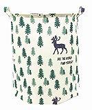 Songsongstore Large Foldable Laundry Hamper Bag Storage Bin Pine trees