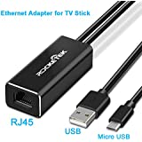 Fire TV Stick Ethernet Adapter, Rocketek Micro USB to RJ45 100Mbps Ethernet Adapter for Fire TV Stick 2, All-New Fire TV(2017), Chromecast Ultra/2/1/Audio, Google Home Mini with USB Power Supply Cable