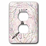 3dRose Uta Naumann Sayings and Typography - Cute Pink Spring Bird Postman Animal Illustration - Love Is In Air - Light Switch Covers - 2 plug outlet cover (lsp_275596_6)