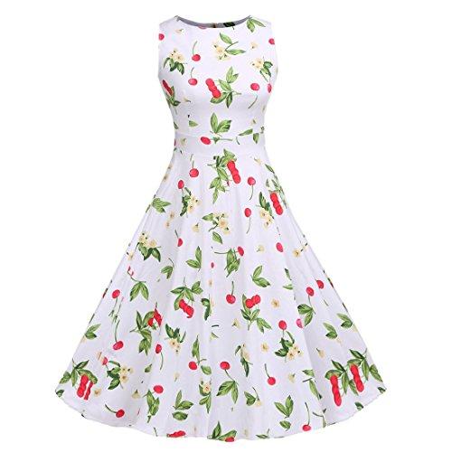 QIYUN.Z Vestido Impreso Floral Sin Mangas Del Oscilación Del Coctel Del Partido De Los Años 50 De La Vendimia De Las Mujeres Cereza Blanca