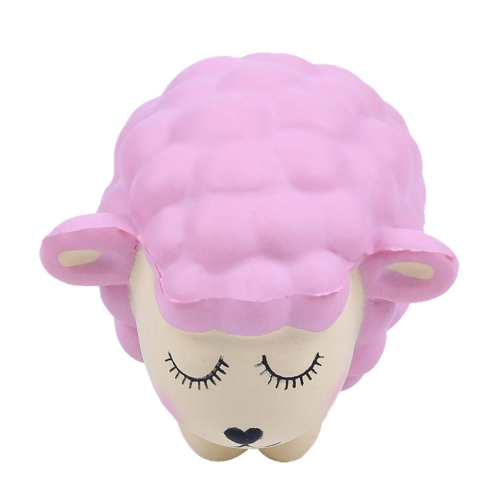 Stress Reliever Cute Lamb Scented Super Slow Rising Kids Squeezable Toy,Squishies Toys (Pink)