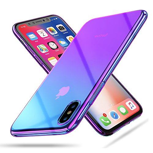 RAXFLY Case Compatible Fit New iPhone Xs Max 6.5 Phone Case Stylish Gradual Colorful Ultra Thin Electroplating Purple Light Shell Mirror Transparent Clear Hard Back Cover
