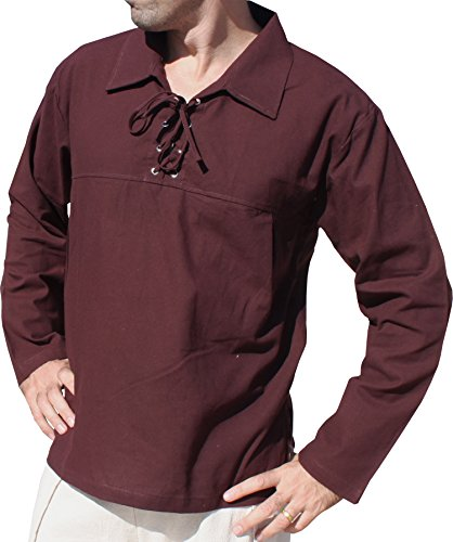 Raan Pah Muang Euro Poets Collar Long Sleeve Renaissance Medieval Tie Chest Shirt