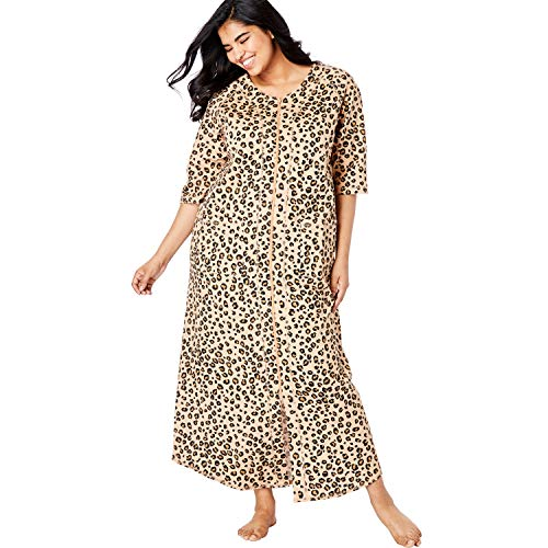 (Dreams & Co. Women's Plus Size Long French Terry Zip-Front Robe - Classic Leopard Print, 3X)