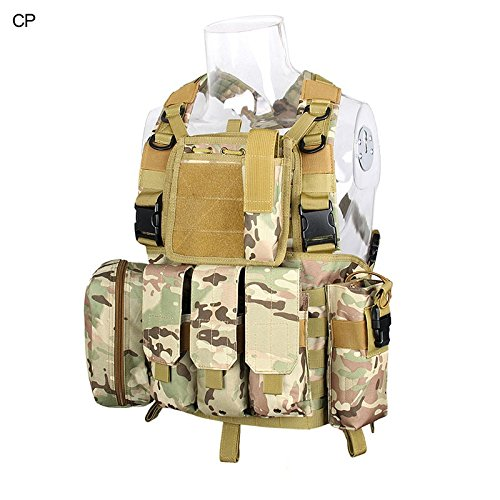 DLP Tactical RRV Chest Rig MOLLE Vest with Four Pouches (Multicam)