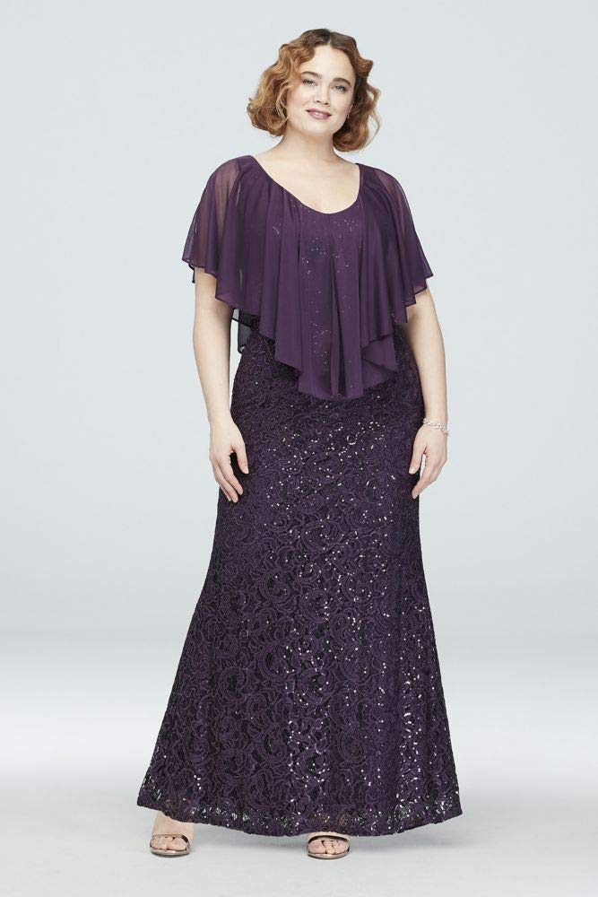 Lace Plus Size Mother of Bride/Groom Gown with Cold Shoulder Capelet Style  293842D, Plum, 16W