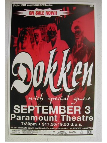 Dokken Handbill Poster Band Shot At The Paramount Theatre Colorado Concert