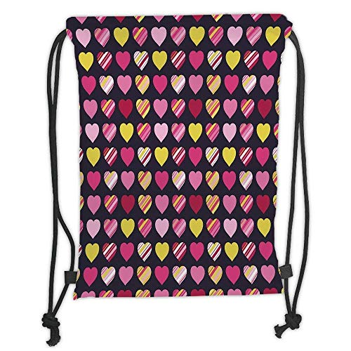 Niomhdos Custom Printed Drawstring Backpacks Bags,Valentines Day,Colorful Diagonally Striped Heart Figures on Black Backdrop Charming Sweet Decorative,Multicolor,Adjustable String Closure