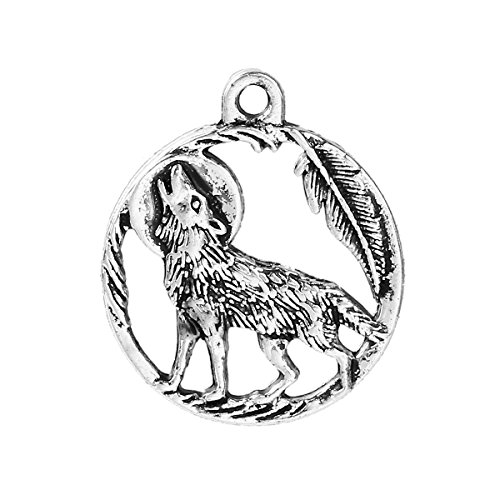 PEPPERLONELY 20pc Antiqued Silver Alloy Wolf Round Charms Pendants 25x21mm (1
