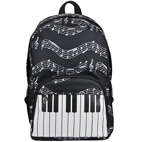 PUNK Oxford Musical Notes Print Backpack for School Boys Girls Stylish Art Bookbags (Keyboard Black)